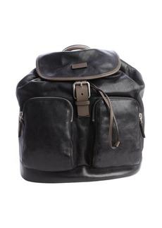 Giorgio Armani black leather pocket detail backpack