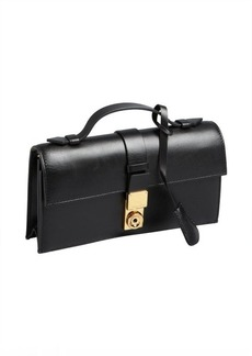 Giorgio Armani black leather top handle convertible shoulder bag