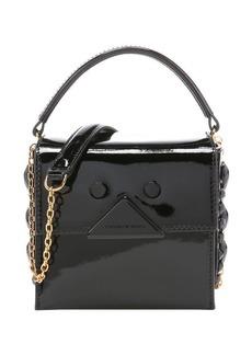 Giorgio Armani black patent leather logo detail mini shoulder bag