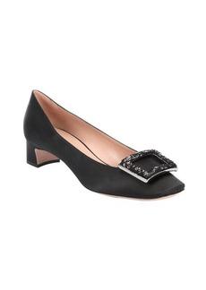 Giorgio Armani black satin sequined buckle square toe pumps