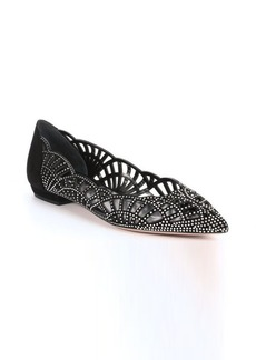 Giorgio Armani black suede and silver crystal mesh flats