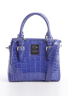 Giorgio Armani blue embossed croc leather convertible top handle bag