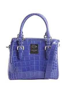 Giorgio Armani blue embossed croc leather convertible top handle bag