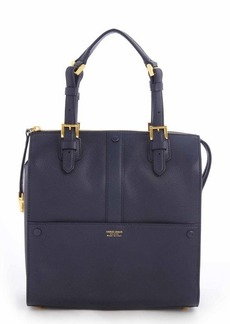 Giorgio Armani blue grained leather buckled small top handle satchel