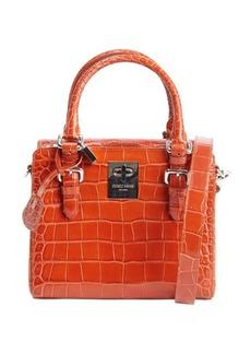 Giorgio Armani burnt orange embossed croc leather convertible top handle bag