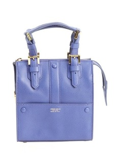 Giorgio Armani cobalt blue leather logo stamp mini convertible top handle bag