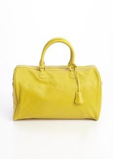 Giorgio Armani curry leather 'Agnello' top handle large bag