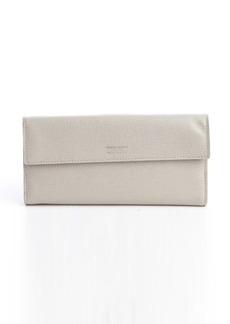 Giorgio Armani grey leather dual snap flap continental wallet
