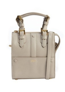 Giorgio Armani khaki leather logo stamp mini convertible top handle bag