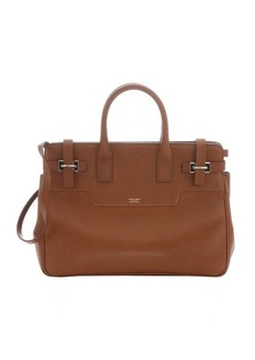 Giorgio Armani light brown calfskin convertible buckled tote bag