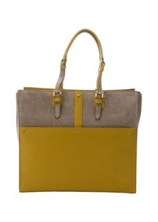 Giorgio Armani mustard and dove leather large tote bag