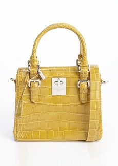Giorgio Armani mustard embossed croc leather convertible top handle bag