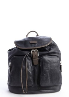 Giorgio Armani navy blue leather pocket detail backpack