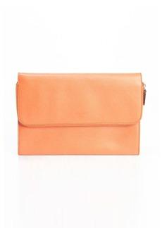 Giorgio Armani orange crosshatched leather zip portfolio clutch