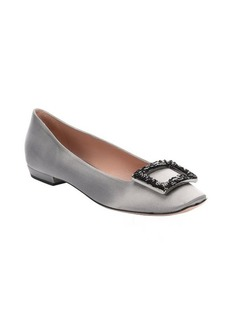 Giorgio Armani pearl grey silk and sequined detail ballerina flats
