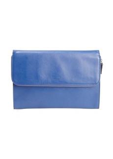 Giorgio Armani royal blue crosshatched leather zip portfolio clutch