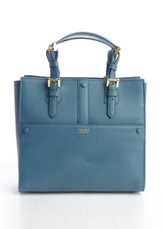 Giorgio Armani teal leather buckle detail top handle tote