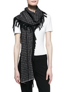 Graphic Fringe Scarf, Black/White   Graphic Fringe Scarf, Black/White