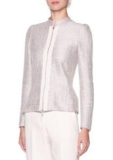 Grosgrain Trim Metallic Tweed Jacket   Grosgrain Trim Metallic Tweed Jacket