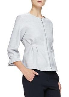 Jewel-Neck Zip-Front Pintucked Jacket, Gray   Jewel-Neck Zip-Front Pintucked Jacket, Gray