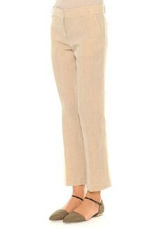 Linen-Blend Lightweight Ankle Pants, Beige   Linen-Blend Lightweight Ankle Pants, Beige