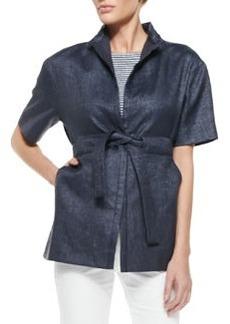 Mandarin-Collar Basketweave Caban Coat   Mandarin-Collar Basketweave Caban Coat