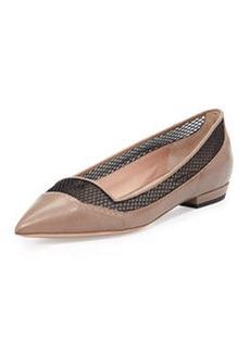 Mesh Point-Toe Ballerina Flat, Taupe/Nero   Mesh Point-Toe Ballerina Flat, Taupe/Nero