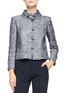 Micro-Pattern Cropped Jacket with Button-Band Collar   Micro-Pattern Cropped Jacket with Button-Band Collar