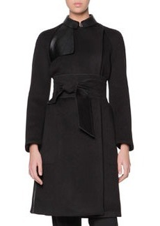 Obi-Belted Cashmere Coat with Leather Panels   Obi-Belted Cashmere Coat with Leather Panels