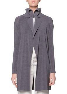 Plisse Exaggerated Lapel Jacket, Gray   Plisse Exaggerated Lapel Jacket, Gray