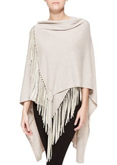 Poncho with Suede Fringe, Sand   Poncho with Suede Fringe, Sand