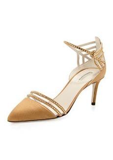 Satin & Crystal Point-Toe Sandal, Bronze   Satin & Crystal Point-Toe Sandal, Bronze