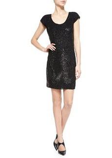 Sequin Pinstripe Scoop-Neck Dress, Black   Sequin Pinstripe Scoop-Neck Dress, Black