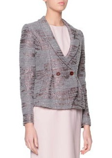Sequined Boucle Shawl-Collar Jacket, Gray/Mauve   Sequined Boucle Shawl-Collar Jacket, Gray/Mauve