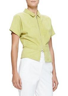 Short-Sleeve Suede Zip Jacket, Lime   Short-Sleeve Suede Zip Jacket, Lime