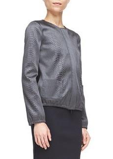 Snake-Embossed Zip-Front Shirt Jacket   Snake-Embossed Zip-Front Shirt Jacket