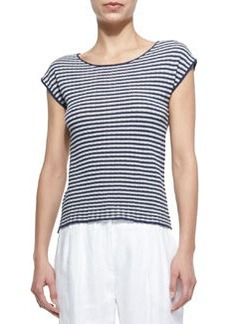 Striped Cap-Sleeve Knit Top   Striped Cap-Sleeve Knit Top