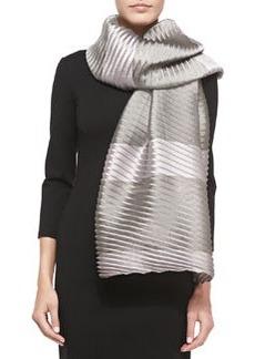 Striped Plisse Organza Wrap, Pink/Gray   Striped Plisse Organza Wrap, Pink/Gray