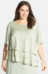 Alex Evenings Foil Print Asymmetric Tiered Blouse (Plus Size)