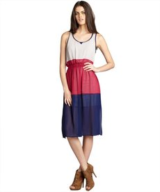 A.B.S. by Allen Schwartz hot pink and navy chiffon colorblocked sleeveless dress