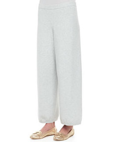 Joan Vass Wide-Leg Knit Pants, Petite