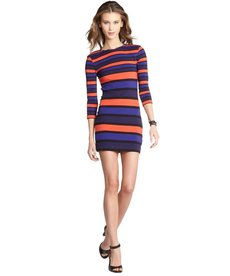 French Connection blueblood and favella red mix 'Kiren' stripe bodycon dress