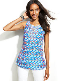 INC International Concepts Beaded Printed Sleeveless Top