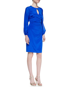 Kay Unger New York Long-Sleeve Keyhole Cocktail Dress