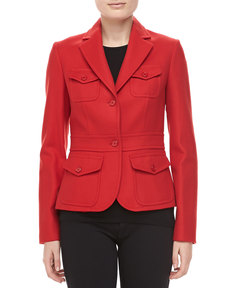 Michael Kors Felted Wool Travel Jacket, Crimson