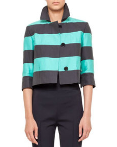 Akris punto Cropped Bold Stripe Jacket