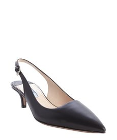 Prada black leather pointed toe slingback kitten pumps