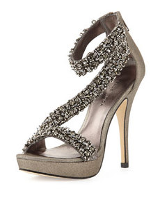 Pelle Moda Favilla Beaded Metallic Leather Pump, Pewter