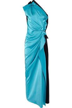 Lanvin Two-tone asymmetric satin gown