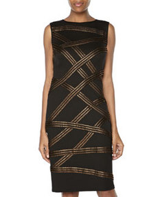 Tadashi Metallic Ribbon Criss-Cross Cocktail Dress, Black/Bronze